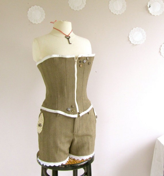 Steampunk Playsuit Corset and Shorts set reconstructed vintage suit