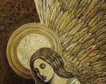 Gold Angel - Medieval Renaissance Goddess 11x14 Art Print