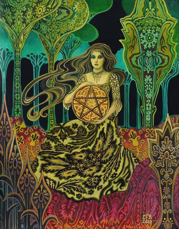 Queen Of Pentacles Tarot Goddess Art Original Painting
