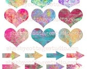 INSTANT DOWNLOAD DIGITAL Collage Sheet Hearts and Arrows U Print