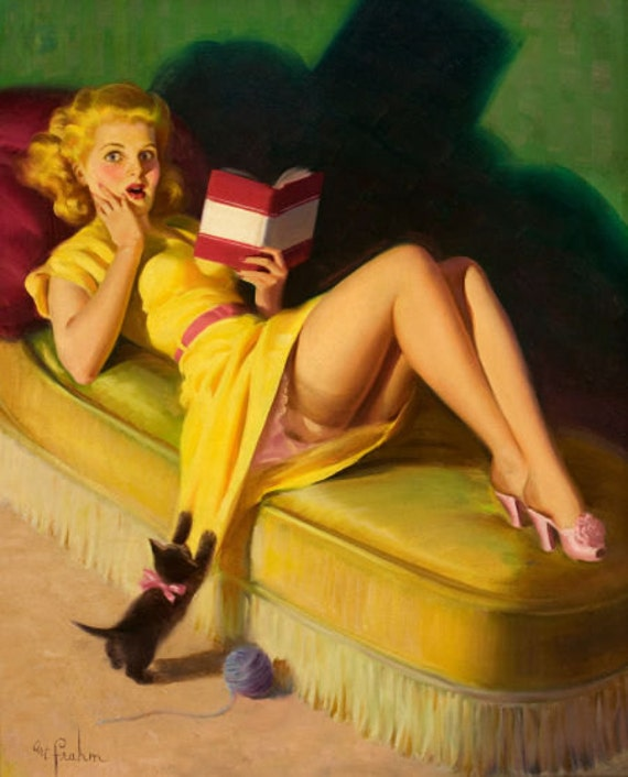 Sale 12x18 WHO DONE IT Frahm Kitten 40s Retro Pin-up Pulp