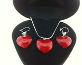 Sterling Silver Red Glass Heart Pendant Necklace and Earrings Set - Gift Boxed