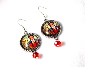 Frida Drop Earrings, Red Mexican Silver Jewelry, Frida and Black Cat Day of the Dead Art Print, Upcycled Red or Blue Beads