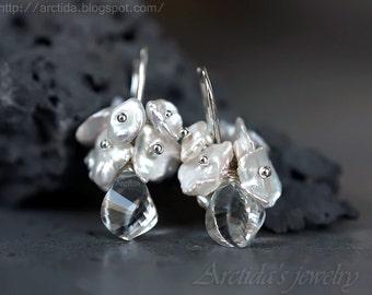 Bridal jewelry Bridal earrings Crystal Clear Quartz Keshi pearl earrings - Wedding jewelry white earrings winter ice snow rusteam - Bianca