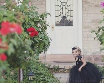 Breakfast at Tiffany's Tutu Dress, Black Flower Girl Tutu Dress