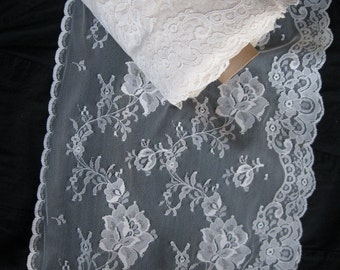 """Veil / bridal lace, in lovely vintage rich cream floral scalloped pattern, 11 1/8"""" super extra wide"""
