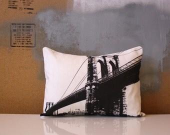 Brooklyn Bridge Pillow - Red Brooklyn Bridge Throw Pillow - New York City Bridge Pillow - Red NYC Pillow