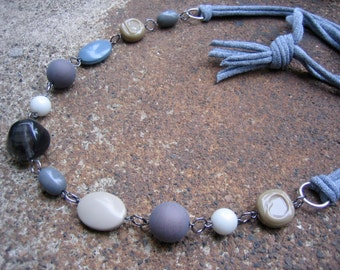 Eco-Friendly T Shirt Yarn Statement Necklace - A Simple Path -  Recycled Vintage Plastic Beads in Shades of Grey