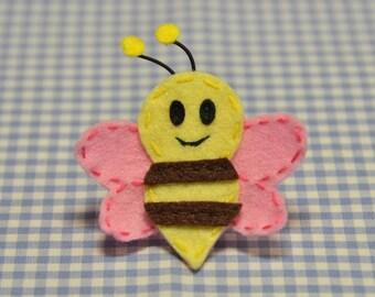 Set of 6pcs handmade felt bee--baby pink/lemonade (FT965)