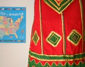 Vintage Boho Skirt Indian Ethnic Style Skirt in Gold, Red Green Size Petite Extra Small for Halloween Costume or Theater ON SALE was 9
