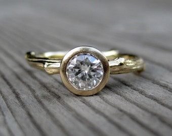 Diamond Twig Engagement Ring in Recycled Gold, .50ct VS1/G, Conflict-free