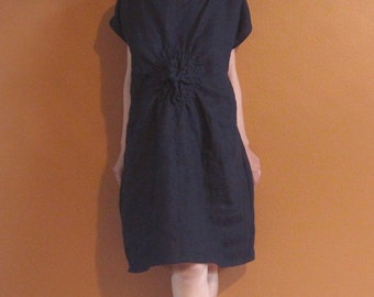 handmade SMOCKED TWIRL linen tunic dress made to order