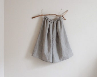 custom  eco linen soft pleats wide leg gaucho pants