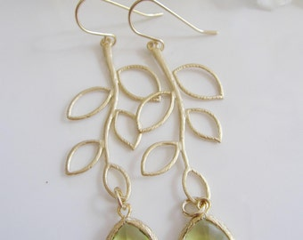 Green Perdiot Earrings, Gold Leaf Earrings, Necklace Set, Rustic, Gold Branch, long earrings, Leaves, Bridesmaid Earrings, Wedding Jewelry