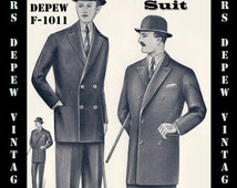 Menswear Vintage Sewing Pattern 1930's Men's Double Breasted Suit Coat and Trousers in Any Size Depew F-1011 - Plus Size -INSTANT DOWNLOAD-