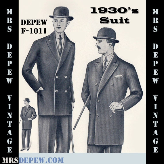 Men's Vintage Reproduction Sewing Patterns 1930s Mens Double Breasted Suit Coat and Trousers in Any Size Depew F-1011 - Plus Size -INSTANT DOWNLOAD-  AT vintagedancer.com