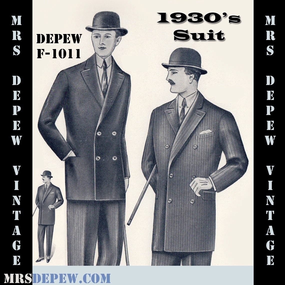 Menswear Vintage Sewing Pattern 1930's Men's Double