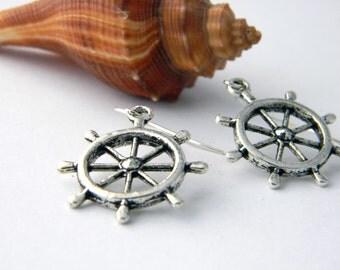 Ship Wheel Earrings Silver Color Dangle Earrings