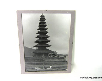 Photograph Black & White Pagoda Temple Photo, Vintage Asian Scene