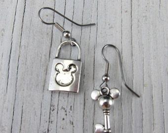 Silver Mickey Mouse Earrings, Mickey Ears Lock and Key, Disney