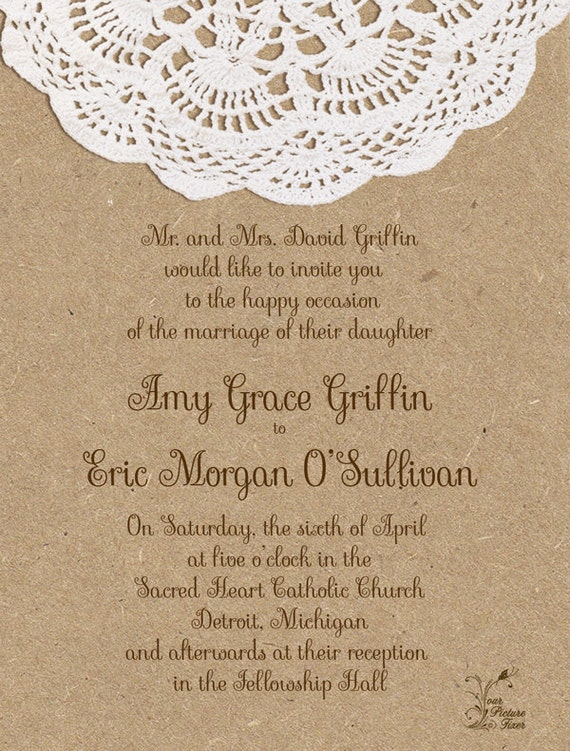 Wedding Invitations Craft Paper and Doily