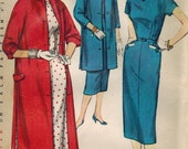 1950s Simplicity 1465 UNCUT Vintage Sewing Pattern Misses Half Size Dress and Coat Size 14-1/2 Bust 33