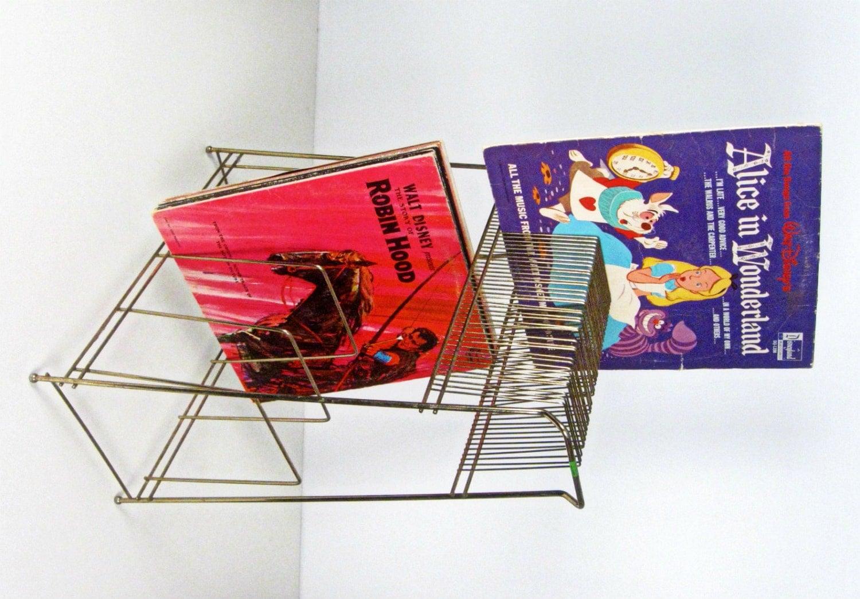 vintage brass two level vinyl record storage holder rack. Black Bedroom Furniture Sets. Home Design Ideas