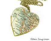 San Francisco Bay Area Necklace on Large Vintage Heart  Locket - Antique Map, Gift for Her, Oakland, Berkeley, Alameda