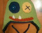 Crocheted Monster Hat Lime and Blue - Baby, Toddler, Child, Teen and Adult Sizes