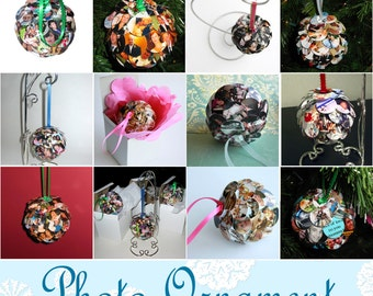Unique Photo Ornament Ball - Custom made - full service editing - love photos galore -Christmas Holiday Birthday Graduation Reunion Vacation
