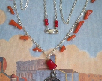 Miracle at Sunset Saint Benedict Coral necklace with ancient medal