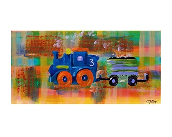 Blue Train Art Print Kids Room Decor Nursery Colorful Whimsical