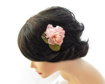 Sweet flower clip, hair clip, pink flower hair clip, pink hair accessory, small pink flower clip