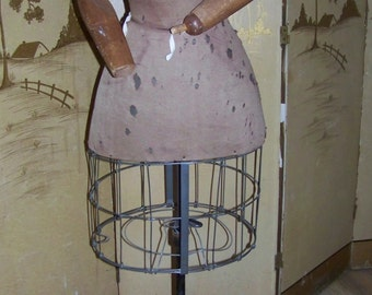 RARE Antique Dress Form w/Articulated Wooden Arms 1900s Show Stopper