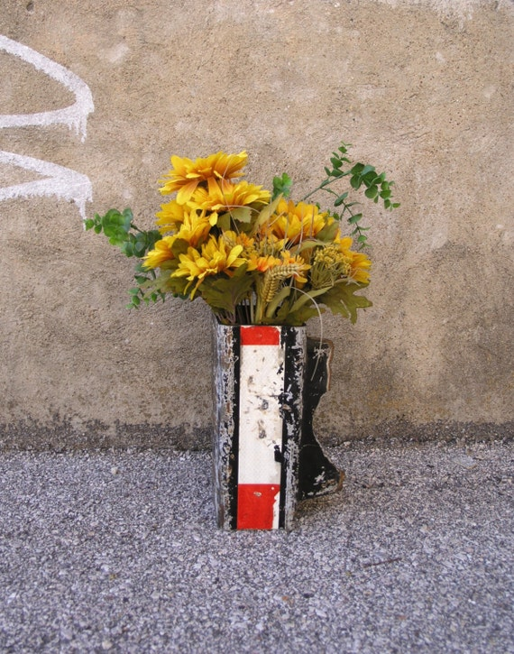 Colorful Flower Vase, Table Centerpiece, Upcycled Metal Vessel, Industrial Decor