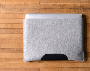 "MacBook Pro Sleeve - Grey Felt and Black Leather Patch for the New 13"" MacBook Pro or the New 15"" MacBook Pro"