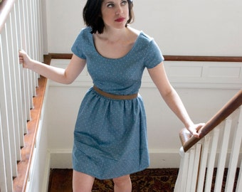 Slate Blue Vintage Style Dress- Short Sleeve 1950s Fashion