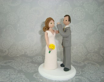 Bride & Groom High Fiving Custom Wedding Cake Topper