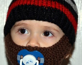 Baby Beard, Knitted Beard Hat, Baby Beard Beanie, Kids-All Sizes, All Colors, Baby Bearded Cap, Baby Bearded Hat, Baby Bearded Beanie