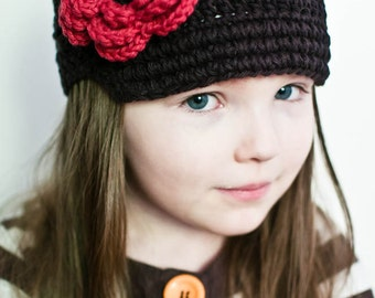 Baby Girl Hat, Crochet Baby Hat, Crochet Visor Beanie Hat, Baby Girl, Crochet Toddler Hat, Baby Hat, Chocolate Brown and Red, MADE TO ORDER