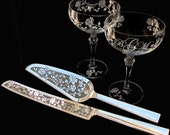 Vintage Style Rose Wedding Cake Server & Crystal Champagne Coupe Set, Personalized, Monogrammed