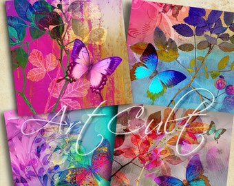 Printable digital download MAGIC TOUCH 3.8x3.8 inch butterfly Images Collage Sheet for Coasters Greeting cards Magnets Gift tags, ArtCult