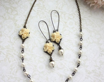 Ivory Star Flower Ivory Pearl Antiqued Brass Necklace, Flower Earring Set.  Bridesmaids Gift Set. Cottage Country Theme.