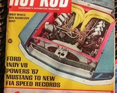 Hot Rod, February 1967, vintage magazine, man cave gas station, street cars,  car show, rat rods, hot rods