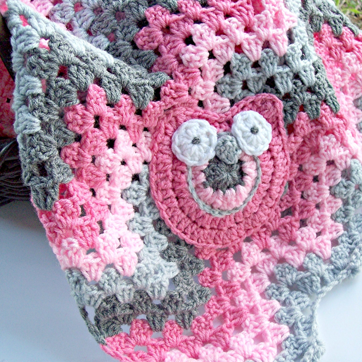 Crochet Owl Baby Blanket : Crochet Gray Pink Baby Girl Owl Blanket Pink Gray by puddintoes