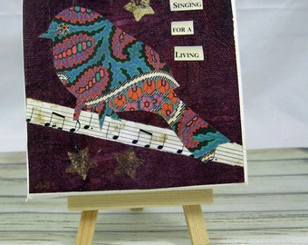 Small Original Mixed Media Bird Collageon 4 x 4  Canvas with Mini Easel