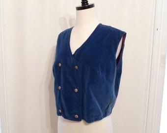 1960s Velveteen Vest Mod Martinette Majorette Jacket Hippy Hippie Bolero Sleeveless Blazer Vest Coat Jacket Crop Top sale Ocean Blue Green