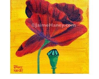Single Red Poppy and pod painting 8x10 print