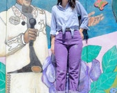 Vintage 90's Hand Dyed Purple LEE JEANS High Waist Paper Bag Waist Distressed Denim Pants (sz 6 8 10)