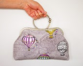 Hot Air Balloon Clutch Bag (Cosmetic Case, Makeup Pouch, Travel Bag, Bag Belt)